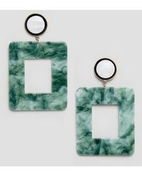 Glamorous Pendants d'oreilles en résine effet marbre - Vert
