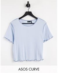 ASOS - ASOS DESIGN Curve - T-shirt corta a maniche corte blu con cuciture a contrasto - Lyst