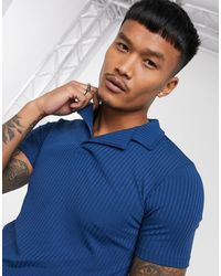 ASOS Muscle Fit Short Sleeve Jersey Rib Polo - Blue