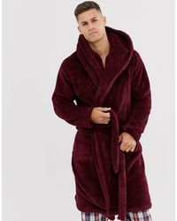 ASOS – Lounge – Weinroter Fleece-Morgenmantel