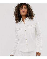 ASOS Camisa holgada en vaquero blanco