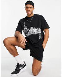TOPMAN City Sketch T-shirt - Black