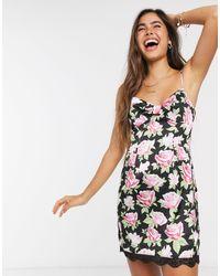 Skylar Rose Mini Slip Dress With Tie Front - Black