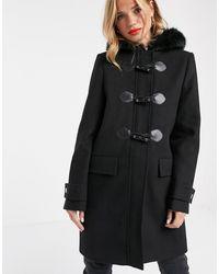 ASOS Duffle Coat With Faux Fur Trim In Black