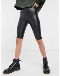 AllSaints - Cora Leather-look legging Shorts - Lyst