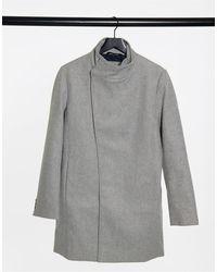 Tom Tailor Светло-серое Пальто Ассиметричного Кроя -серый