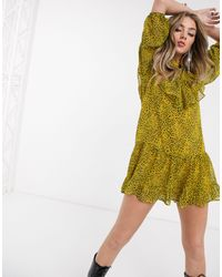 Bershka Leopard Print Smock Dress - Yellow