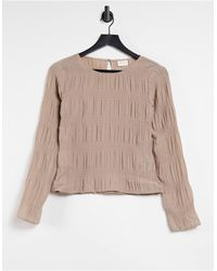 Vila Long Sleeve Top With Gathered Detail - Natural