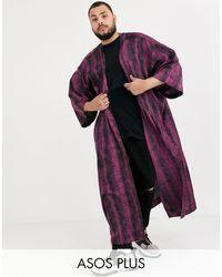 ASOS Plus Oversized Longline Kimono - Purple