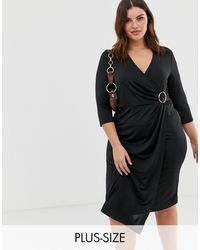 River Island Wrap Dress With Buckle Detail - Black
