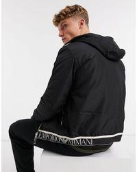Emporio Armani Черная Куртка С Капюшоном И Логотипом -черный