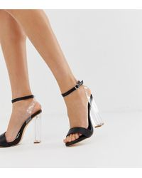 Truffle Collection Wide Fit Clear Sandals - Black