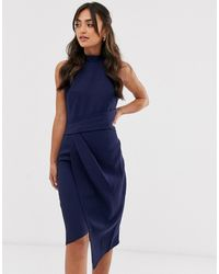 Lipsy Figurbetontes Neckholder-Kleid in Navy - Blau