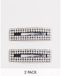 ASOS Set Van 2 Grote Kristallen Haarspelden - Zwart