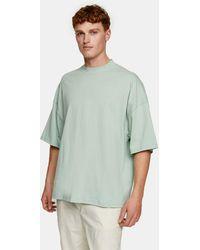 TOPMAN Oversized Turtle Neck T-shirt - Green
