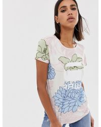 G-Star RAW Lindelly Organic Cotton T-shirt In Floral Print - Blue