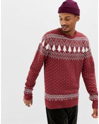 Another Influence Holidays Fairisle Knitted Sweater - Red