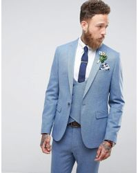 ASOS | Wedding Skinny Suit Jacket In Airforce Blue Micro Texture | Lyst