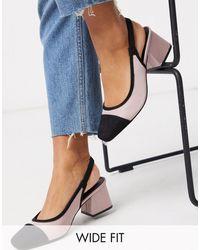 ASOS Wide Fit Whisker Slingback Mid Heels - Black