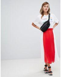 Monki - Pleated Midi Skirt In Colourblock - Lyst