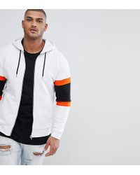 ASOS - Design Tall Zip Up Hoodie With Colour Blocking - Lyst