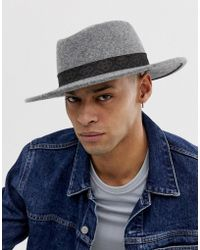 ASOS Wide Brim Pork Pie In Grey With Vintage Inspired Band Detail - Gray