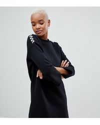 Vans - Black Sweat Dress With Checkerboard Arms - Lyst