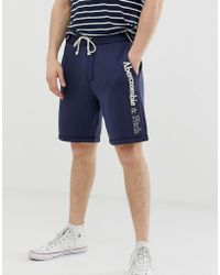 Abercrombie & Fitch - Logo Print Sweat Shorts In Navy - Lyst
