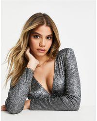 Naanaa Plunge Neck Long Sleeve Bodysuit - Black