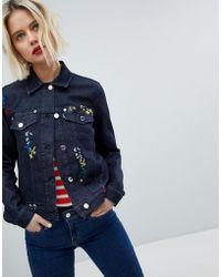 Love Moschino Embroidered Denim Jacket - Blue