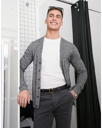 ASOS Cárdigan de algodón de punto de hilo retorcido en gris de -Negro - Multicolor