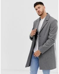 ASOS Abrigo de mezcla de lana en gris claro de