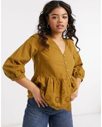Vila Embrodiered Blouse With Short Sleeves - Brown