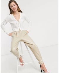 Lost Ink Cropped Cardigan With Scallop Edge And Tie Front-white - Natural