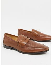 Dune – Geprägte Loafer aus Leder - Braun