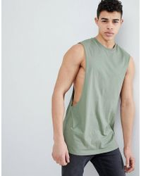 9b1ad305bcfb4 ASOS - Longline Singlet With Extreme Dropped Armhole In Green - Lyst