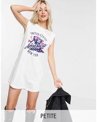 Noisy May Robe t-shirt à épaulettes et motif USA - Blanc