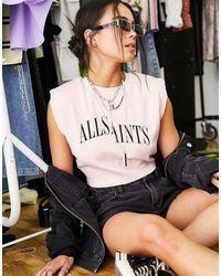 AllSaints Canotta corta con spalle imbottite, colore - Rosa