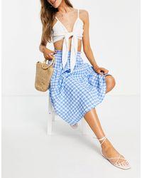 ASOS Midi Skirt With Pocket Detail - Blue