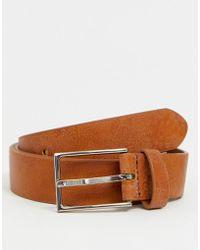 ASOS Smart Faux Leather Slim Belt In Tan - Brown