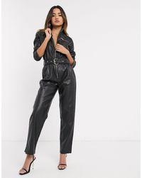 River Island Faux Leather Utility Jumpsuit - Black