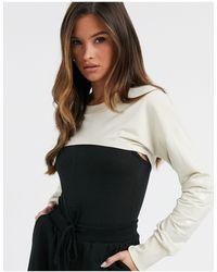 Hummel Sweat-shirt super court - Crème - Blanc