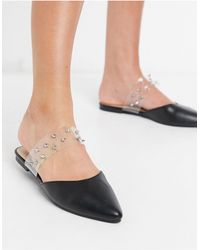 London Rebel Pointed Flat Mule With Studs - Black