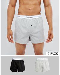Calvin Klein – 2er Packung gewebter Boxershorts - Grau