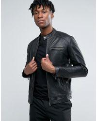 SELECTED - Leather Biker Jacket - Lyst