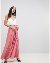 ASOS - Pleated Maxi Skirt With Belt - Lyst