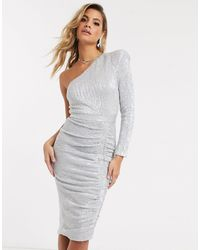 Lavish Alice One Sleeve Sequn Midi Dress - Metallic