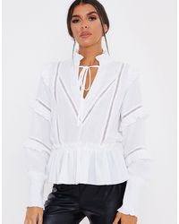 In The Style X Lorna Luxe Ruffle Trim Blouse - White