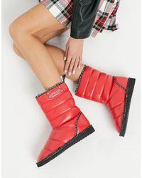 Love Moschino Красные Дутые Ботинки -красный