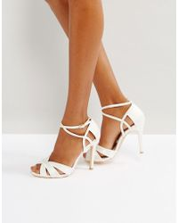 True Decadence Ivory Strappy Bow Heeled Sandals - White